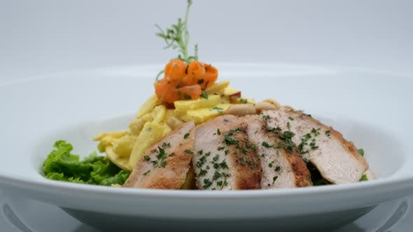 Delicious Restaurant Food Chicken With Vegetables
