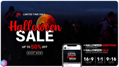 Halloween sale greetings. Instagram and YouTube marketing.