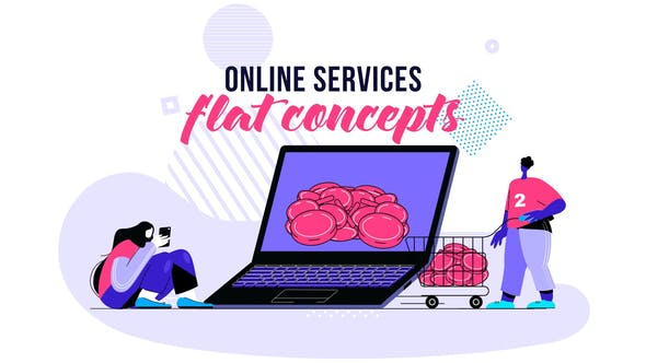 Thumbnail for Online services - Flat Concept