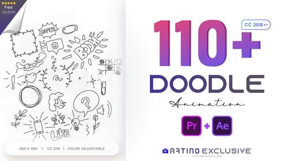 110 animierte Doodles Pack