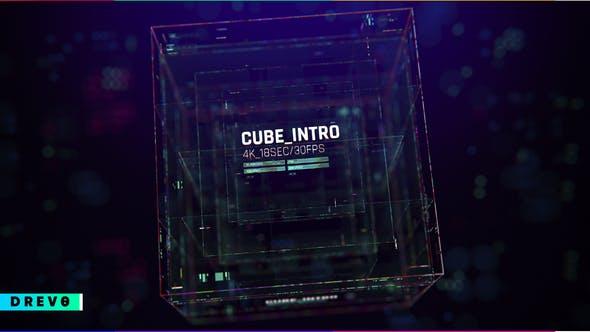 Cube Intro/ Glitch Opener, Tournoi de jeu/ Cyber Sport/Hi-Tech HUD/ Streamer/ Youtube Techno Blog