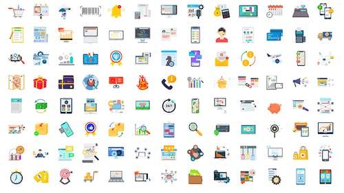 100 Digital Marketing & E-Commerce Icons