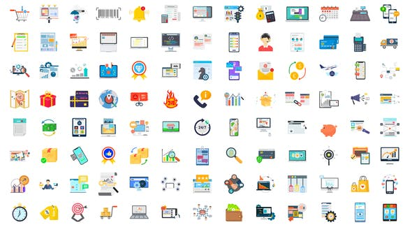 Thumbnail for 100 Digital Marketing & E-Commerce Icons