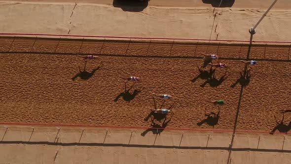 Thumbnail for Aerial view of a group of camels during a race in the desert of Ras Al Khaimah.