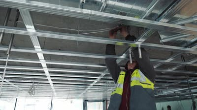 Installation of a Ceiling on Construction