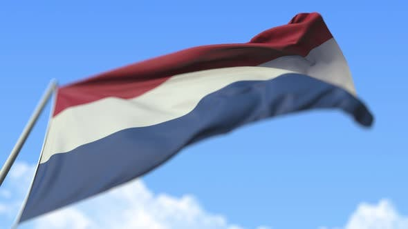 Waving National Flag of the Netherlands