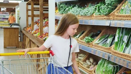 Girl Chooses Products in the Hypermarket