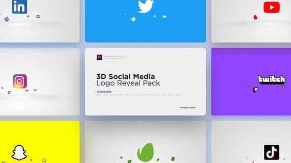 Thumbnail for Paquete de revelación Logo de redes sociales 3D para Premiere Pro