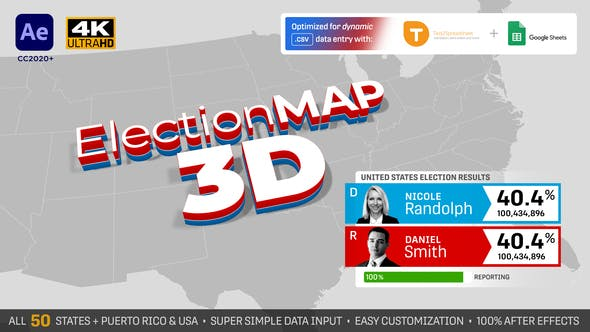 Thumbnail for United States Election Map 3D