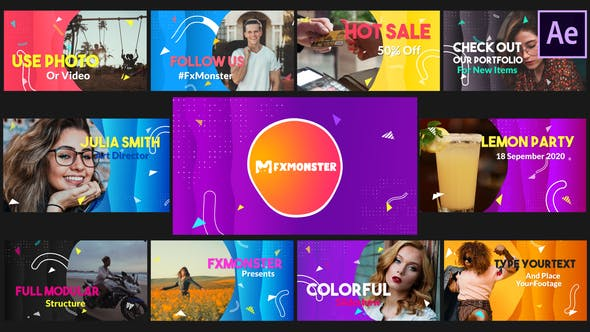 Thumbnail for Colorful Slideshow | After Effects