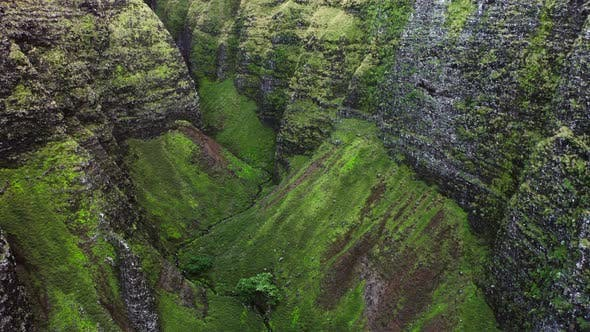 Thumbnail for Impressive Aerial Footage From Inaccessible Mountain Gorge. Unique Remote Part of Hawaiian Nature