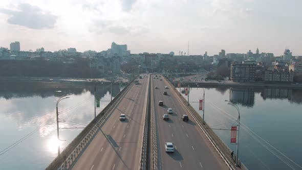 Thumbnail for Aerial View of Traffic of Cars on the Bridge in a Populated City