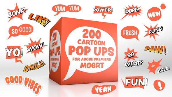 Thumbnail for Cartoon Pop-Ups for Premiere - MOGRT