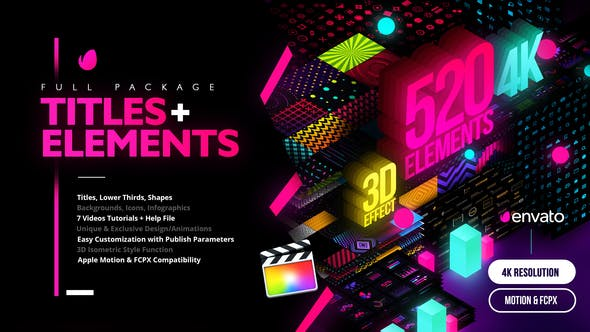 Thumbnail for Modern Pack of Titles and Elements for FCPX - 4K