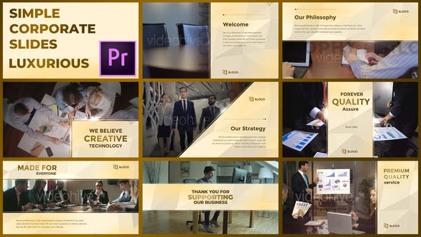 Thumbnail for Simple Corporate Slides Luxurious – Premiere Pro