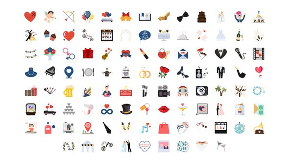 Thumbnail for 100 Wedding Icons