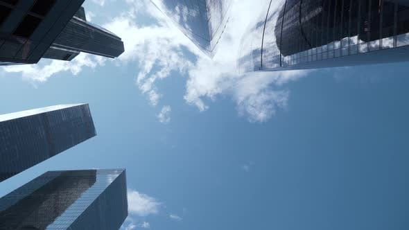 Dizzying view of modern glass skyscrapers