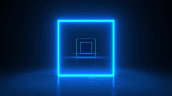 Squares neon blue light in black hall room