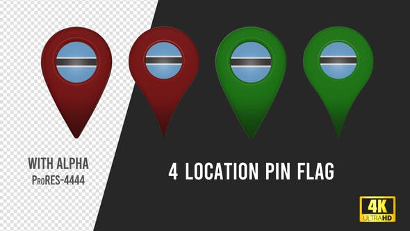 Thumbnail for Botswana Flag Location Pins Red And Green