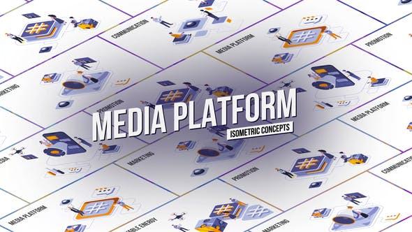 Media platform - Isometric Concept