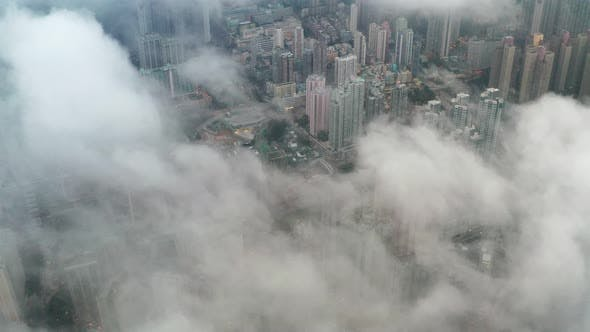 Hong Kong building from top, upper the cloud