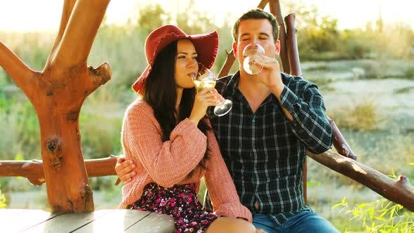 Thumbnail for Beautiful Caucasian Couple in Sun Flares Clinking Glasses with Wine