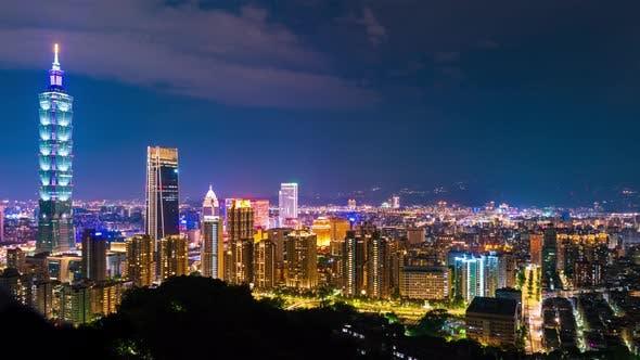 time lapse of city night view in Taipei, Taiwan
