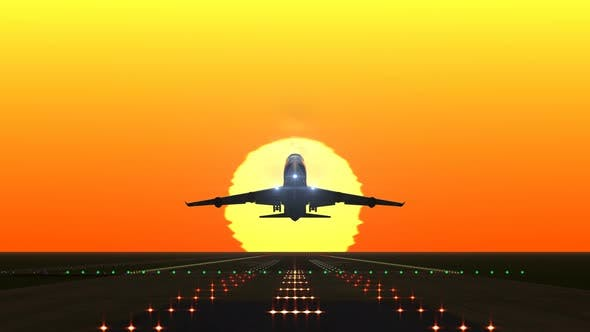 Cover Image for Airplane Departing from Airport Runway against Sunset or Sunrise
