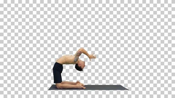 Thumbnail for Yogi doing camel yoga pose, Alpha Channel