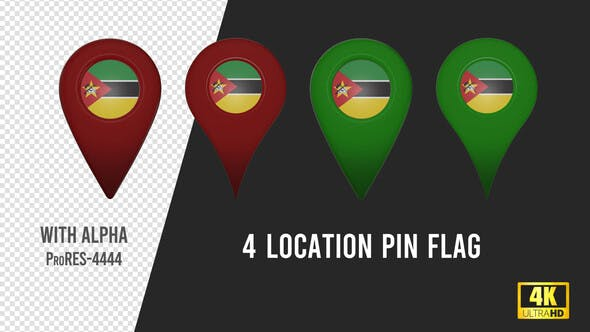 Mozambique Flag Location Pins Red And Green