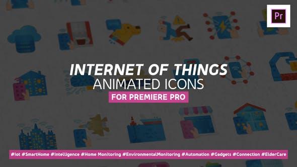 Thumbnail for Internet de las cosas Íconos animados planos modernos - Mogrt