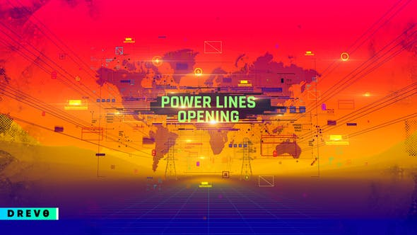 Power Lines Opening/ Energy/ Dynamic/ Economy/ World Map/ Business Promo/ Factory/ Works/ Industry