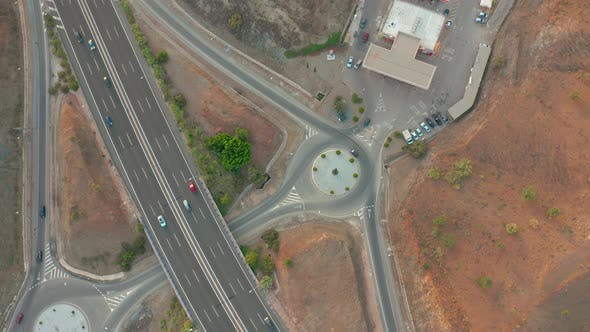 Thumbnail for Summer Aerial Footage of Transport Junction, Traffic Cross Road Junction Day View From Above