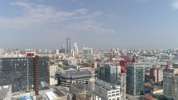 Thumbnail for Aerial Panoramic Shot of Construction Cranes in City