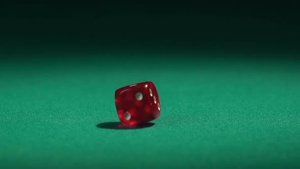 Thumbnail for Red dice falling on green table in slow motion. Casino gambling, hobby for rich