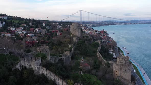 Thumbnail for Istanbul Bosphorus Old Rumeli Fortress And Bridge  Aerial View