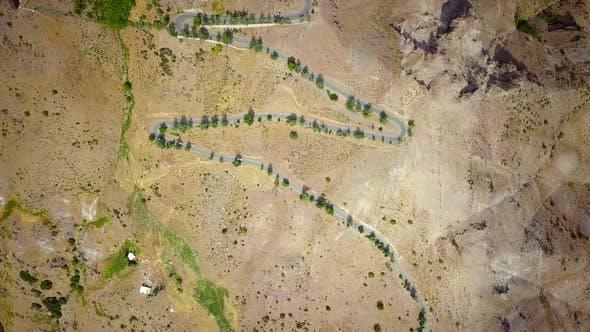 Aerial view of Camino A Farellones, Lo Barnechea, Santiago, Chile.