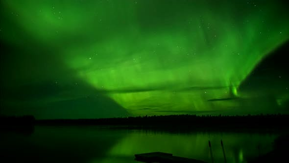 Thumbnail for Aurora Borealis Over Lake Time Lapse