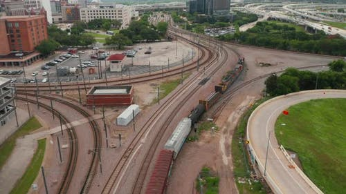 Aerial View of Freight Train on the Tracks