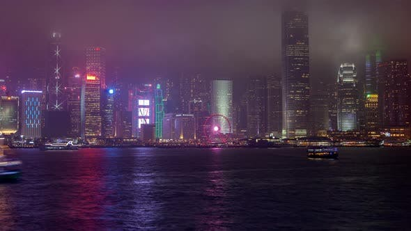 Thumbnail for Hong Kong Victoria Harbour Skyline Urban Panorama TimeLapse Pan Up