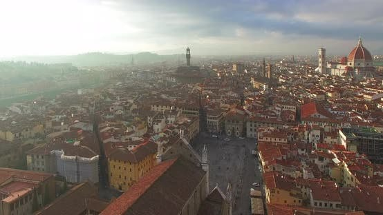 Thumbnail for The Rooftops of Florence at Overcast Morning. Italy. Panoramic Aerial View