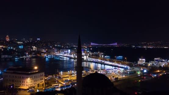 Thumbnail for Aerial Hyperlapse Istanbul Galata And Bosphorus Night