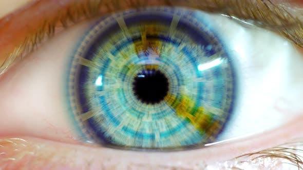 Thumbnail for Opening Eye To Reveal Digital Hud Hologram Over Pupil Dark Blue 01