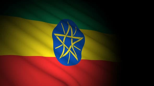 Ethiopia Flag Blowing in Wind