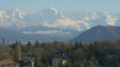 Pan left shot of the Bernese Alps