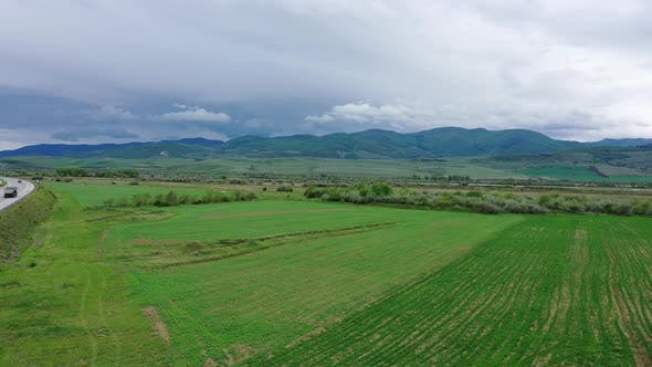 Thumbnail for Cloudy weather in a mountain valley. Aerial view.