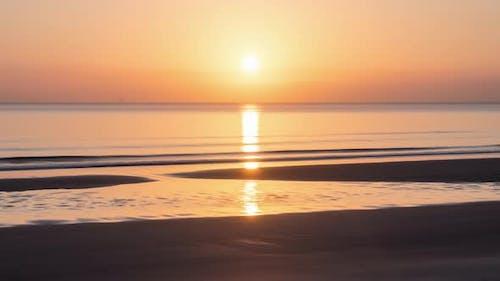Orange Sky at Sunset over Ocean Beach