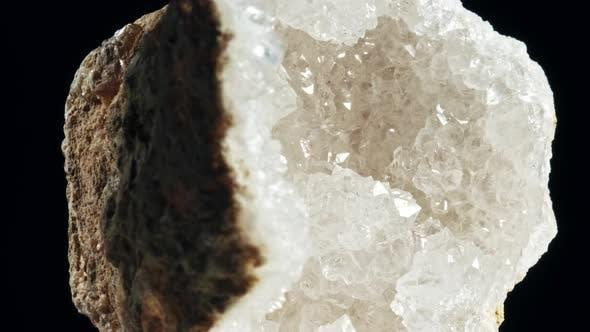 Thumbnail for Large Crystals of Rhinestone Quartz, Rock-crystal Black Background. Macro
