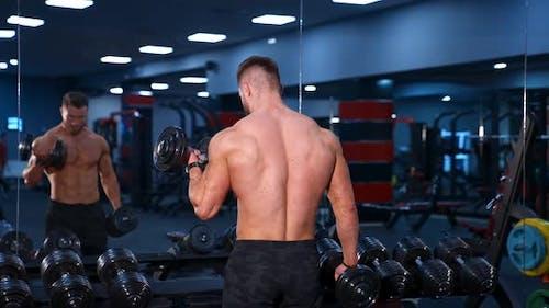 Übung für die Muskeln Bizeps. Athletischer Mann arbeitet mit Hantel