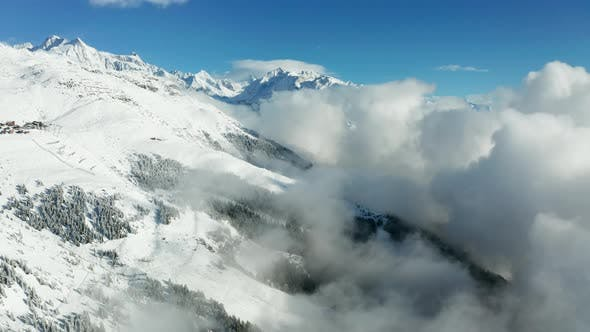 Thumbnail for Misty Winter Sunrise in the Swiss Alps Mountains. Aletsch Arena, Switzerland.
